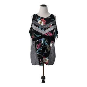 Cacique 26 Tankini Swim Top Black Floral Geo NWT